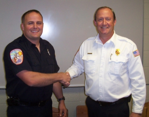 Firefighter Bryant and Chief Armstrong
