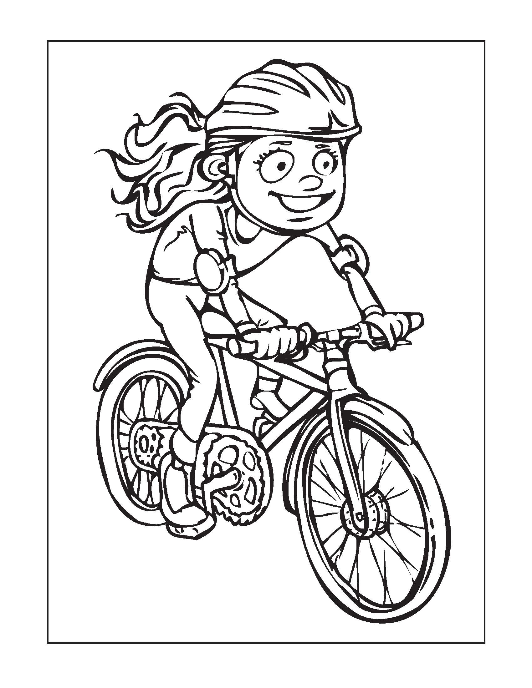 Coloring Page For Kids Bike Safety